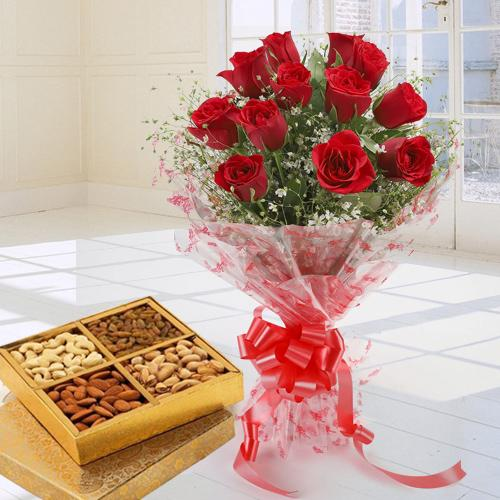 Beautiful One Dozen Red Roses Bouquet with Dry Fruits