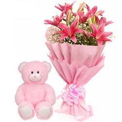 Pink Lily Bouquet with a Love Teddy