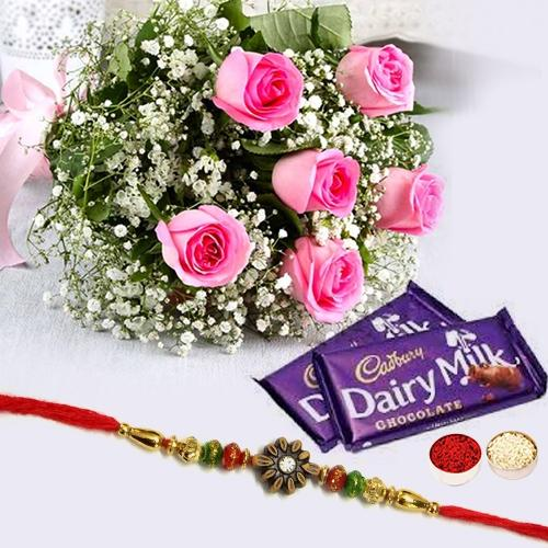 2 pcs Dairy Milk (13 gms each), 6 Pink Rose Bunch with Designer Rakhi