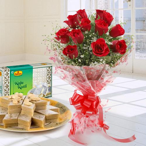 Exotic Romantic Bouquet of 12 Red Roses Combined with 250 Gms. Kaju Katli