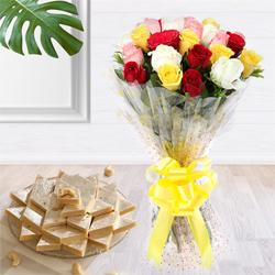 Send Charming assorted Roses with delicious Kaju Barfi delight to Kerala