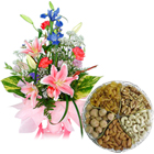 Kaju Barfi  with Seasonal Flowers Bouquet