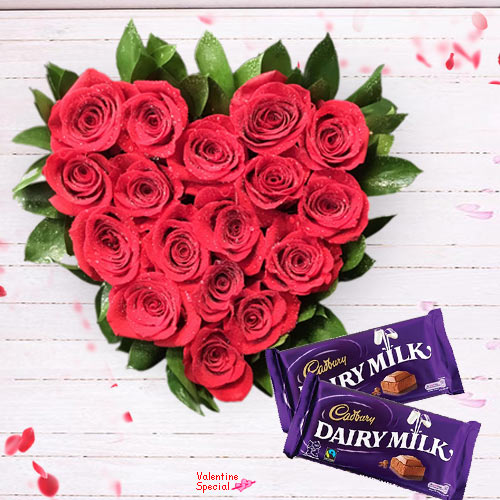 Buy Red Roses Heart Shape Bunch N Dairy Milk Chocolates for V-Day