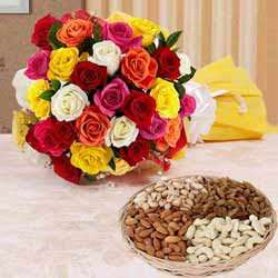 Cherished 1 Kg. Dry Fruits with 2 Dozen Multicolored Roses