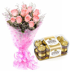 Sweet Celebration Combo of Ferrero Rocher and Pink Rose