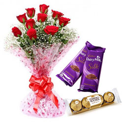 Graceful Red Rose Bouquet, Ferrero Roacher and Dairy Milk Silk
