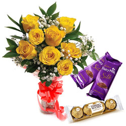 Perfect Combo of Dairy Milk Silk and Ferrero Chocolate with Yellow Rose Bouquet