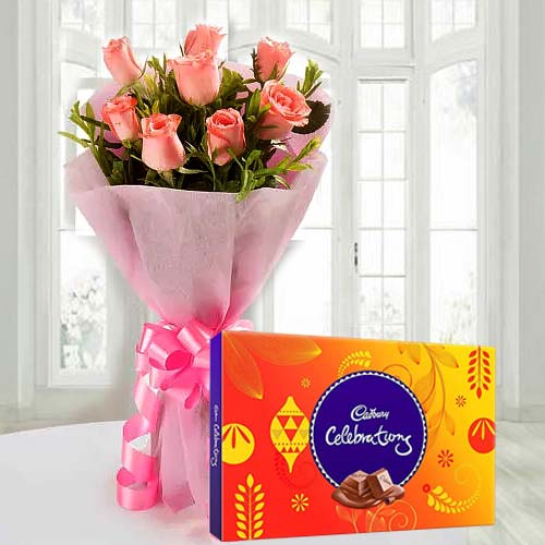 Tempting Cadbury Celebration with Magnificent Pink Rose Bouquet