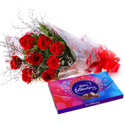 Beautiful Bouquet of Red Roses and Cadbury Celebration
