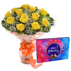Exotic Yellow Rose Bouquet with Yummy Cadbury Celebration