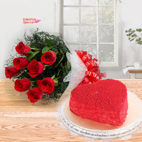 Red Roses Bouquet with Heart Shape Red Velvet Cake