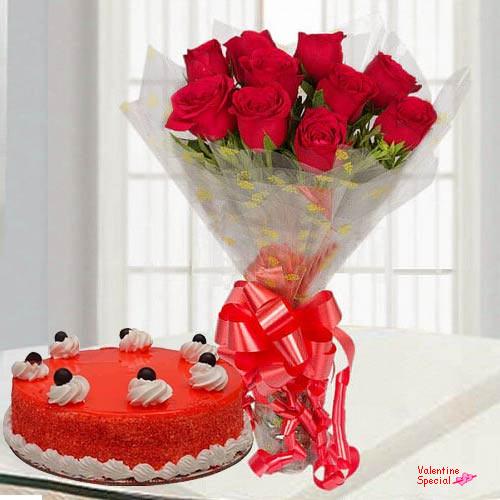 Lovingly-Made V-Day Red Velvet Cake with Red Roses Bouquet