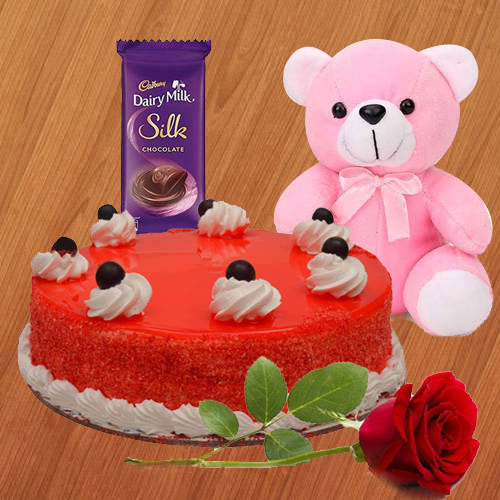 Deliver Red Velvet Cake with Dairy Milk Silk, Red Rose N Teddy Online