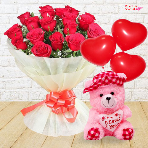 Bouquet of Red Roses with Heath Shaped Balloons and Teddy