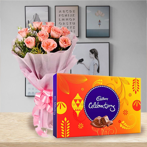 Online Cadbury Celebration Chocolate N Pink Roses Online