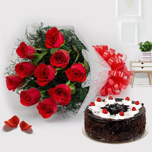Order Online Red Roses with Black Forest Cake