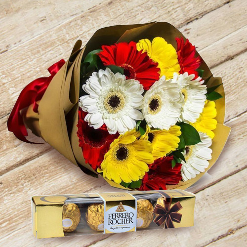 Send Combo of Gerbera Bouquet N Ferrero Rocher Online