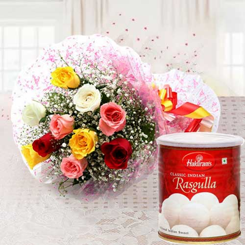 Send Online Mixed Roses with Haldiram Rasgulla