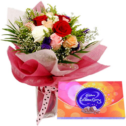 Deliver Mixed Roses and Cadbury Celebration Online