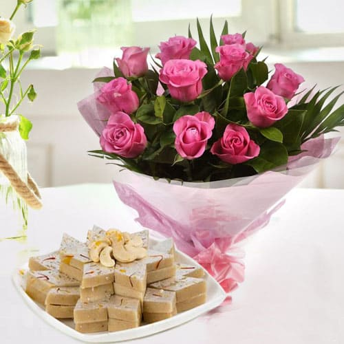 Happy Birthday Exotic Pink Roses with Tasty Kaju Katli