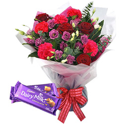 B Day Delight Mixed Flowers Bouquet with Cadbury Celebration