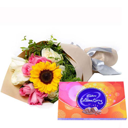 Send Online Mixed Flower Bouquet with Cadbury Celebration