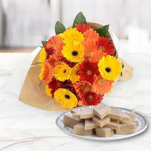 Order Mixed Gerberas Arrangement with Kaju Katli Online