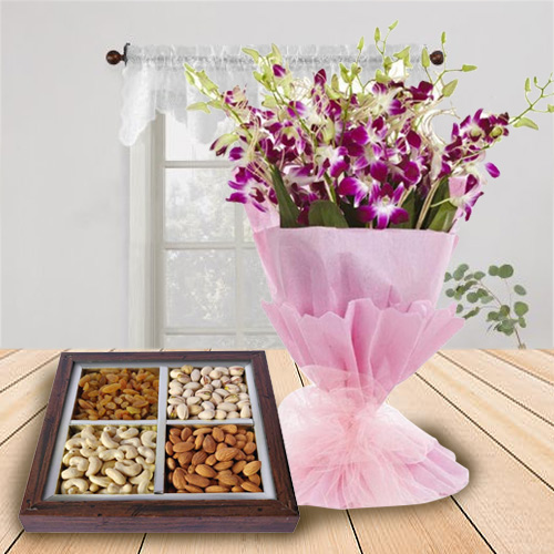 Online Gift of Orchids Bouquet with Dry Fruits