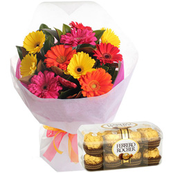 Order Combo of Mixed Gerbera Bouquet and Ferrero Online