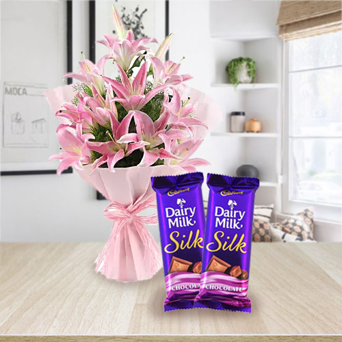 Happy Birthday Dramatic Pink Lilies Bouquet and Dairy Milk Silk Chocolates