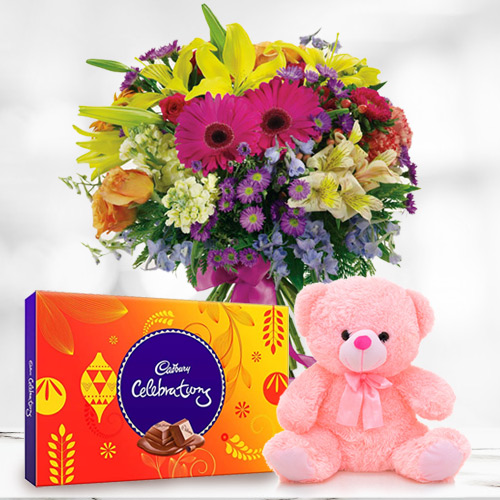 Colourful Mixed Flower in a Vase with Cadbury Celebration N Small Teddy for B Day