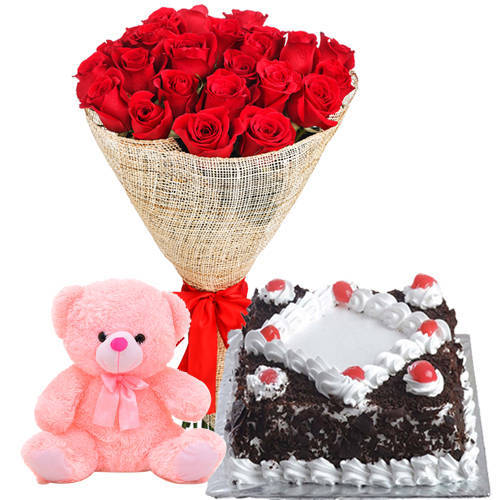 Everlasting Birthday Red Rose Bouquet with Famous Black Forest Cake N Small Teddy