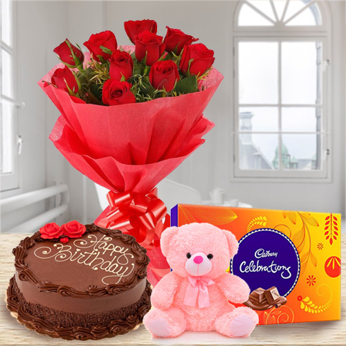 Book Online Red Roses Bouquet with Chocolate Cake, Teddy N Cadbury Celebration