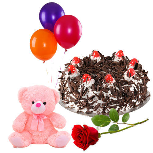 Order Online Black Forest Cake with Red Rose, Teddy N Balloons