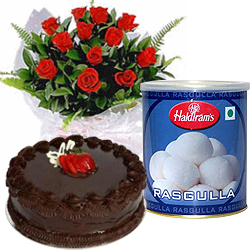 Send Red Roses and Rasgulla with Eggless Cake