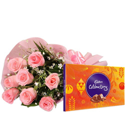 Send Online Pink Rose with Cadbury Celebration