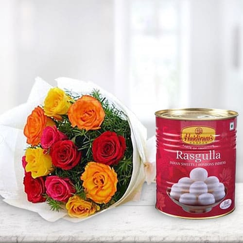 Order Combo of Mixed Roses with Haldiram Rasgulla Online