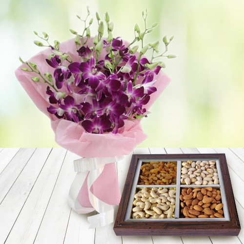 Gift Orchids Bouquet and Dry Fruits Online