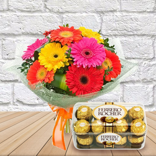 Gift Online Mixed Gerbera Bouquet with Ferrero Rocher Chocolate