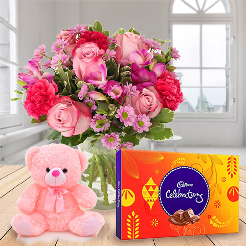 Online Order Mixed Flowers in a Vase with Chocolate and Teddy