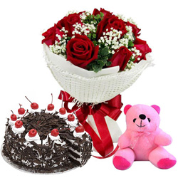 Online Order Red Roses Bouquet with Teddy N Black Forest Cake