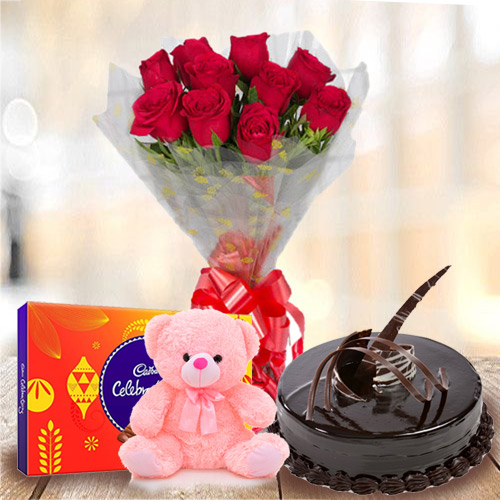 Online Combo Of Chocolate Cake with Teddy, Red Roses Bouquet N Cadbury Celebration