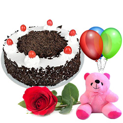 Buy Online Red Rose with Black Forest Cake, Teddy N Balloons
