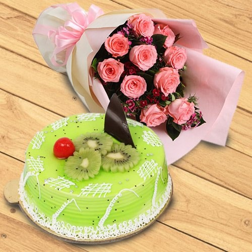Bouquet of 10 Pink Roses with 1 kg Kiwi Cake