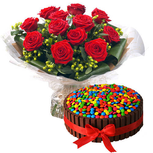 Striking Bouquet of Red Roses with Kit Kat Cake