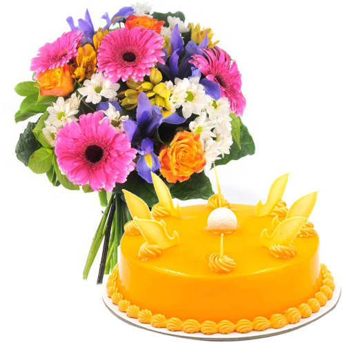 Order Mango Cake N Mixed Flowers Bouquet Online