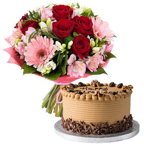 Book Mixed Flowers Bouquet N Coffee Cake Online