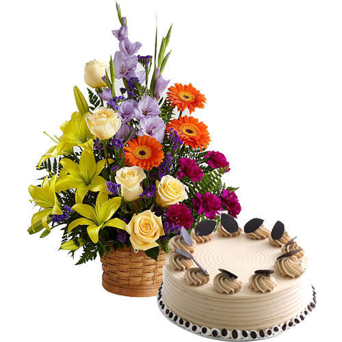 Shop Mixed Flowers Arrangement N Coffee Cake Online