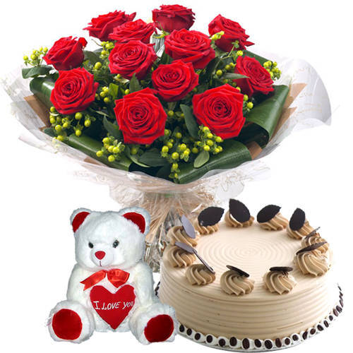 Online Deliver Red Roses with Teddy N Coffee Cake