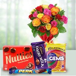 Crunchy mixed Cadburys Chocolate with charming Roses